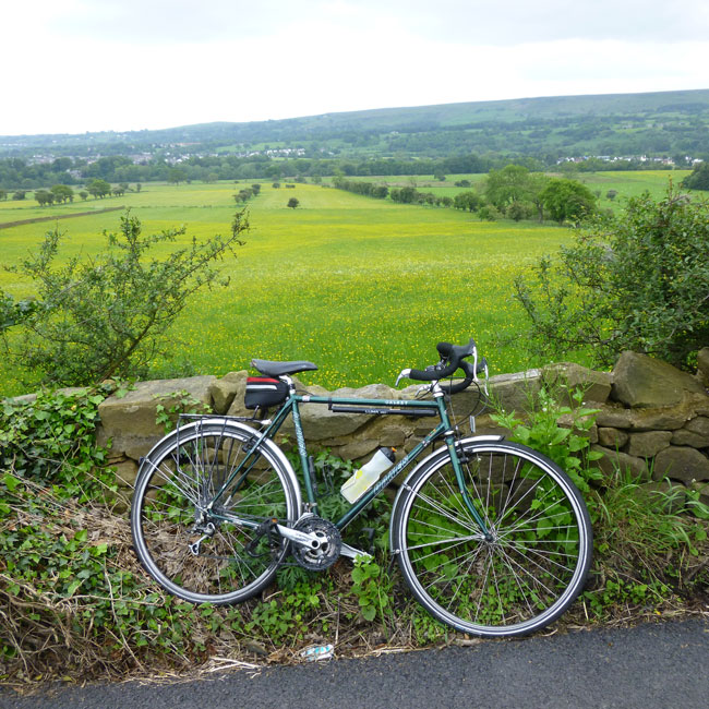 My Bicycle and some fields looking towards Burley-in-Wharfdale