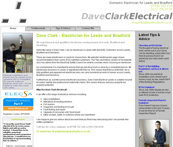 Dave Clark Electrician Website